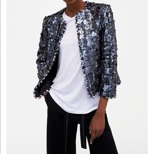 Zara Sequin Tweed Jacket